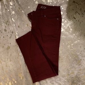The limited Maroon red denim jeans